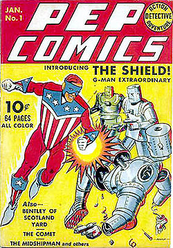 Pep Comics #1, featuring The Shield, art credit Irv Novick